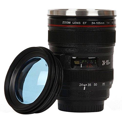 Demino Durable Edelstahl Isolierkannen-Reise-Kaffeetasse-Schale Wasser Kaffee Tee Camera Lens Tumbler Schwarz