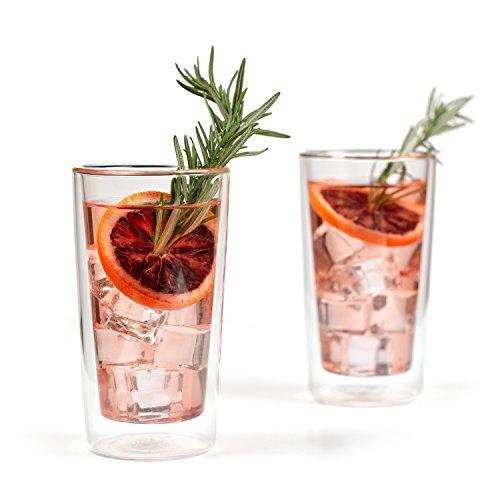 Eparé Trinkgläser Isoliertes Tumbler Set 350 ml - Doppelwandiges Thermoglas - Tasse für Kaffee Cocktails Wasser Bier Tee oder Saft - 2 Gläser