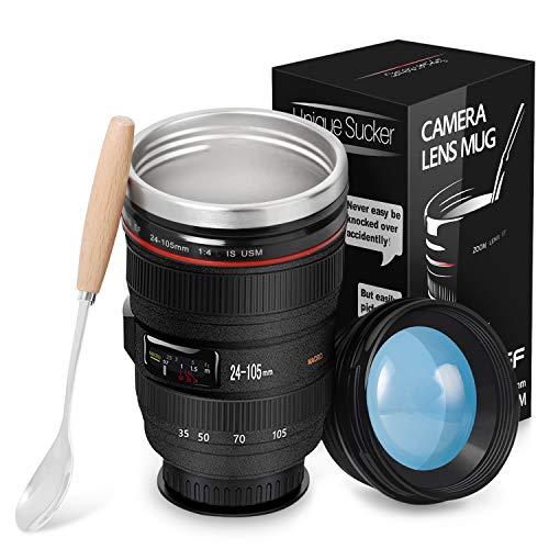 Kameraobjektiv-Kaffeetassen Reisebecher Objektiv Tasse Edelstahl Trinkbecher Tumbler Cup Tee-Wasserflasche mit magischem Sauger lustige Kamera-Schalen großes Geschenk-Set für Fotografen Videographen