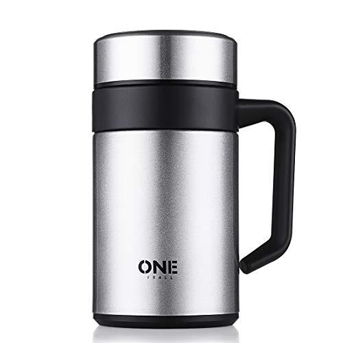 ONEISALL Auslaufsichere Isolier-Tasse 400 ml Edelstahl Vakuumflasche mit Griff und abnehmbarem Teesieb Thermo-Wasserflasche BPA-frei Kaffee-Tumbler QLYGYBL451 400 ml silberfarben