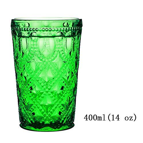 Tumblers Bunt Trinken Brille Retro Europäische Prägen Longdrinkgläser Dauerhaft Gedrückt Glas klar Spülmaschinenfest Milch Saft Tee Kaffee-M 400ml14 oz