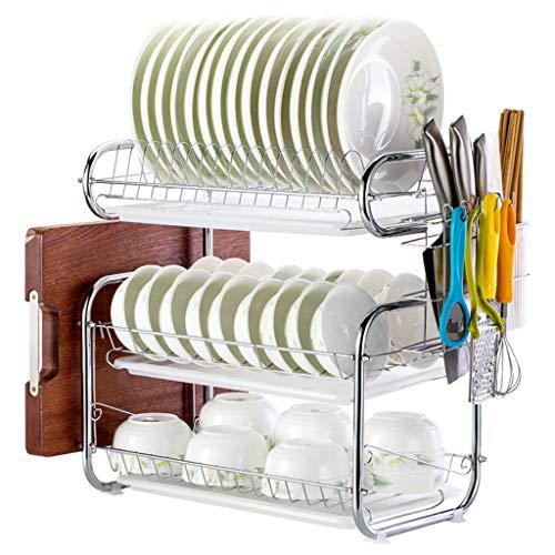 OldPAPA 3 Tier Dish Abtropffläche Halter Dish Wäscheständer Edelstahl Teller Dish Cup Besteck Abtropfgestell Küche Organisation Regal mit Tropfschale B