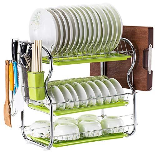 OldPAPA Abtropfgestell in Edelstahl Geschirrkorb mit Abtropfgitter Geschirrständer mit Besteckkorb und Abtropfschale für Teller Küche Aufbewahrungs Tool A