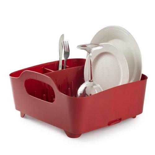 Umbra Tub Geschirr Abtropfgestell – Abtropfkorb mit integriertem Tropfwasserabfluß für Ihre Spüle oder Arbeitsfläche in Ihrer Küche Zuhause im Büro oder Wohnwagen Kunststoff  Rot