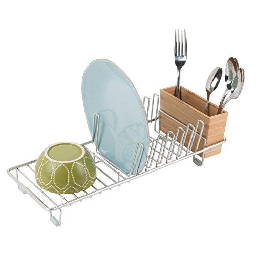 mDesign Abtropfgestell - das ideale Geschirrabtropfgestell für Ihre Küche - zum Trocknen von Gläsern Besteck und Tellern - Geschirrablage - Farbe satiniert
