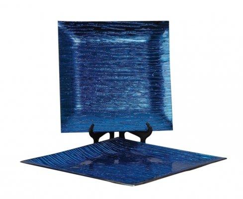 Tellerset Glas Metallic Blau XXL 2 große Glas Teller zu einem Preis