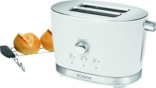 Bomann TA 3005 CB 2-Scheiben-Toaster mit Brötchenaufsatz Krümelschublade Auftaufunktion Aufwärmfunktion Schnellstoppfunktion Weiß
