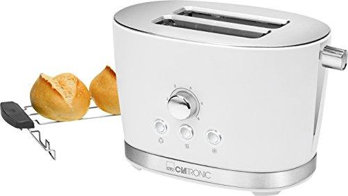 Clatronic TA 3690 2-Scheiben-Toaster mit Brötchenaufsatz Krümelschublade Auftaufunktion Aufwärmfunktion Schnellstoppfunktion Weiß