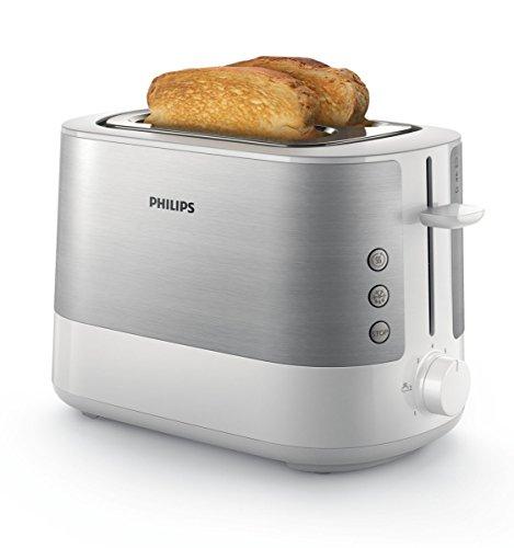 Philips HD263700 Toaster 7 Stufen Brötchenaufsatz Stopp-Taste 1000 W weißedelstahl