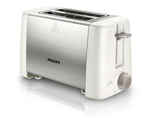 Philips HD482500 Zwei-Schlitz Toaster Auftau Röst und Aufwärmfunktion 800 W Edelstahl weiß