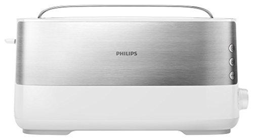 Philips Langschlitztoaster Edelstahl 8 Bräunungsstufen Brötchenaufsatz 950 Watt weiß HD269200