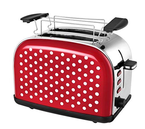 Team Kalorik 2-Scheiben-Toaster Retro-Design Separater Brötchenaufsatz Integrierte Krümelschublade 1050 W RotWeiß TKG TO 1045 RWD
