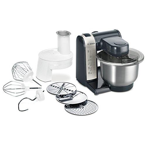 Bosch MUM4 MUM48A1 Küchenmaschine 600 W 3 Rührwerkzeuge aus Edelstahl spülmaschinengeignet Rührschüssel 39 Liter max Teigmenge 20kg Durchlaufschnitzler 3 Scheiben schwarz