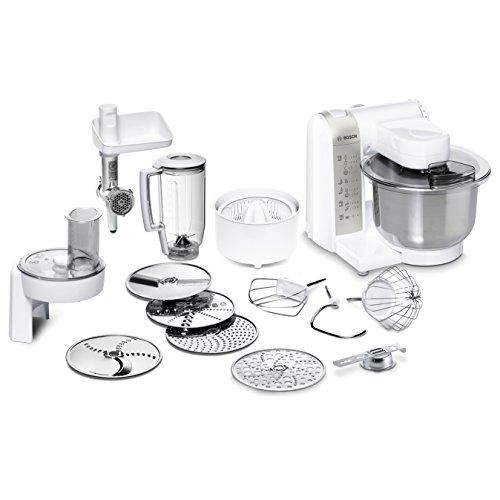 Bosch MUM48140DE Küchenmaschine 600 W 39 L Edelstahlrührschüssel Durchlaufschnitzler Zitruspresse Fleischwolf Mixer-Aufsatz weiß