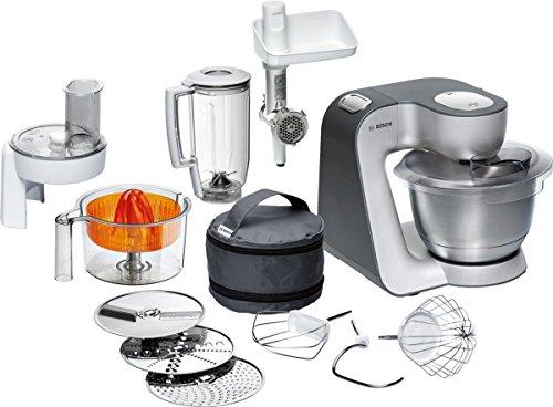 Bosch MUM5 MUM56340 Styline Küchenmaschine 900 W 3 Rührwerkzeuge Edelstahl spülmaschinenfest 39 Liter Teigmenge 2kg Durchlaufschnitzler 3 Scheiben Mixaufsatz Zitruspresse Fleischwolf grau