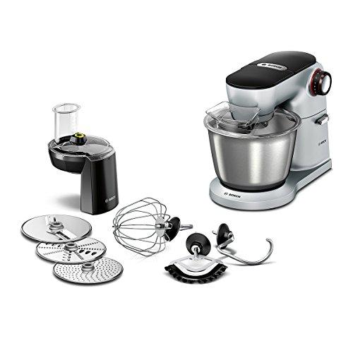 Bosch MUM9D33S11 OptiMUM Küchenmaschine 1300 W 3 Profi-Rührwerkzeuge Edelstahl spülmaschinenfest Durchlaufschnitzler 3 Scheiben Rührschüssel 5 5 Liter Teigmenge 35kg silber