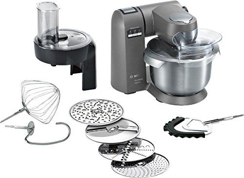 Bosch MUMX30GXDE Küchenmaschine MaxxiMUM 1600 W SensorControl Automatikfunktion 54 L Edelstahl-Rührschüssel 3D PlanetaryMixing Smart dough sensor granite grau