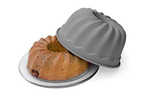 BackeFix Gugelhupfform antihaft Gugelhupf aus Silikon Backform groß - Zero Waste Napfkuchenform Kuchenform Grau Ø 23cm