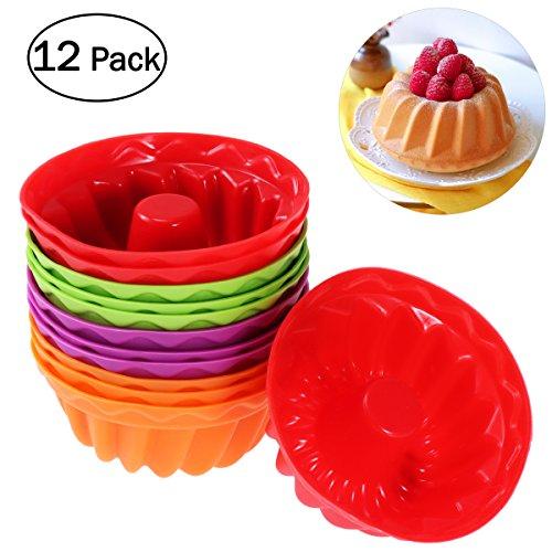 OUNONA 12Pcs Silikon Gugelhupf Backform Wiederverwendbare Kuchenform Set für DIY Backengelegentliche Farben
