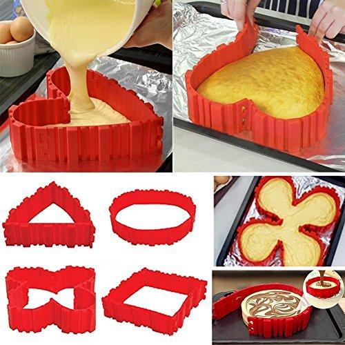 Silikon Backform Set  Kuchenformen Cake Mould Magic Bake Snake Kuchen Herzform Rund Blume quadratische Zahlen Buchstaben flexible Silikonform für Torten Fondant Muffin4Pcs