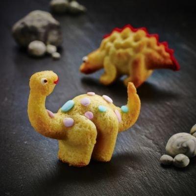 "Silikon-Kuchenform ""Dinosaurier"" 6 lustige Dinosaurier-Motive 3D 29 x 21 cm"