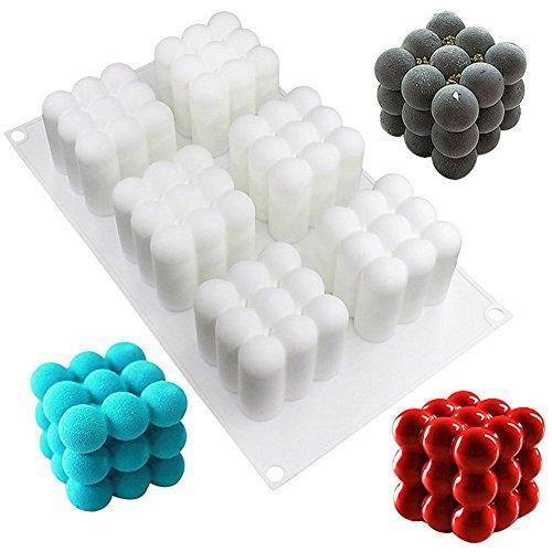 xiaoshenlu Mousse-Kuchenform Silikomart Silikon Backform - 3D Backformen DIY Mold 6 Löcher Zauberwürfel weiß