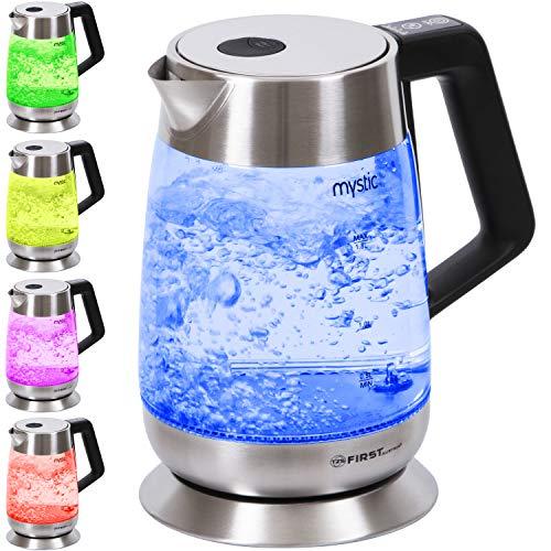 TZS First Austria - 2200W 18 Liter Glas Wasserkocher Temperatureinstellung 60 70 80 90 100 °C Warmhaltefunktion BPA frei LED Beleuchtung mit Farbwechsel  Temperatur einstellbar  Temperaturwahl