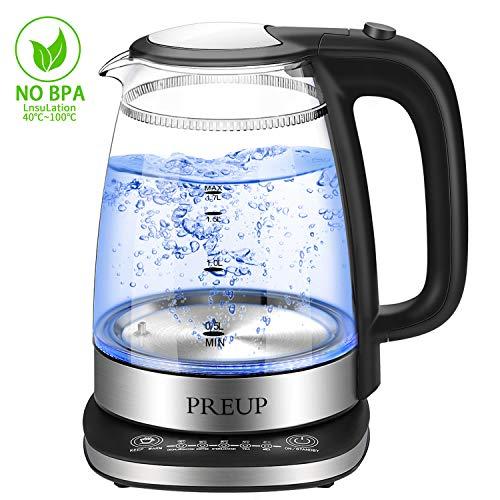 Wasserkocher Glas mit Temperatureinstellung PREUP Wasserkocher Warmhaltefunktion mit blauer LED Beleuchtung Kessel mit Automatischer Abschaltung 17 Liter 1700 Watt Schwarz
