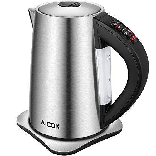 Aicok Wasserkocher Edelstahl mit Temperatureinstellung 4060708090 und 100 Grad elektrischer Wasserkessel mit Warmhaltefunktion Kessel mit Automatischer Abschaltung 2200 Watt 17 Liter Schwarz