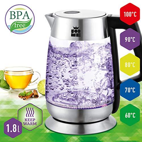 ForMe Glas Wasserkocher 18 L  LED Beleuchtung Teekessel  Metallteile  Glaskessel mit Edelstahl Boden  BPA Frei  Warmhaltefunktion  Temperatur einstellbar  Temperaturwahl 60-100°C