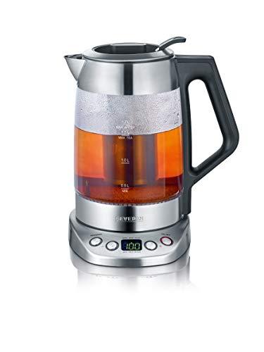 SEVERIN Glas-Tee-Wasserkocher Deluxe Mit Temperaturregler Für 17 L Wasser15 L Tee ca 3000 W WK 3479 EdelstahlSchwarz