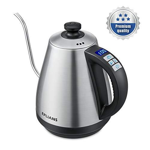 Wasserkessel EPLIANS mit Schwanenhalsausguss und Temperatur-Anzeige Wasserkocher Kaffeekessel Edelstahl 1 Liter