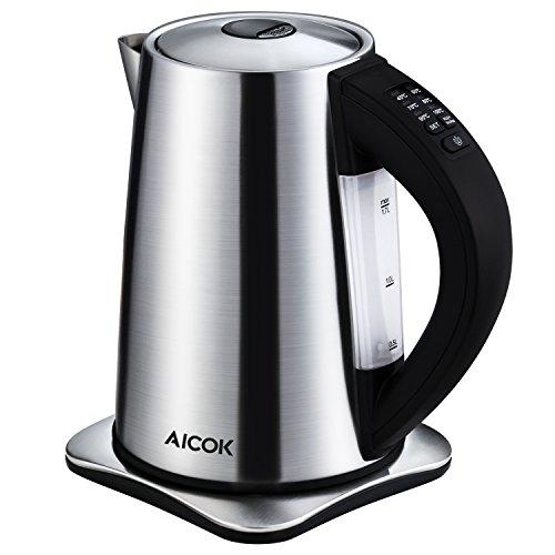 Aicok Wasserkocher Edelstahl Wasserkocher Temperatureinstellung mit Warmhaltefunktion BPA Frei Kessel 2200 Watt 17 Liter SilberSchwarz