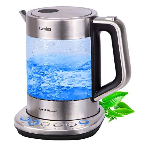 TZS First Austria - Glaswasserkocher mit Temperatureinstellung Temperaturwahl 40 Grad für Babynahrung 70 90 100 Grad Warmhaltefunktion Glas Edelstahl LED BPA frei Wasserkocher