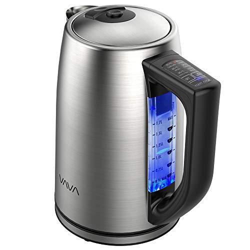 Wasserkocher Edelstahl VAVA 17L Elektrischer Wasserkocher mit 6 Temperatureinstellung für alle Getränke BPA-Frei Trockengehschutz Warmhaltefunktion Silber