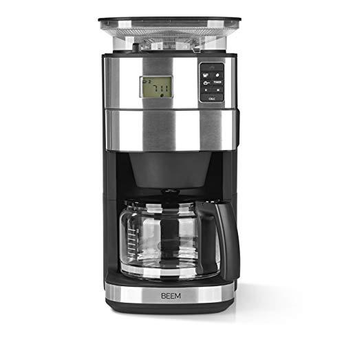 BEEM FRESH-AROMA-PERFECT II Filterkaffeemaschine mit Mahlwerk - Glas  Edelstahl  125 l Glaskanne  24-Stunden-Timer  1000 W  Präzisions-Kegelmahlwerk