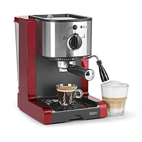 BEEM 02051 Espresso Perfect Verbesserte Version 2019  Espressomaschine für Pulver Pads 1350 Watt 15 bar  Espresso Cappuccino Latte Macchiato XXL-Crema Kaffee Lungo  Brillantrot