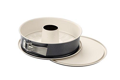 Dr Oetker Springform mit Flach- und Rohrboden Ø 28 cm Kuchenform mit 2 Böden runde Backform aus Stahl mit keramisch verstärkter Antihaft-Beschichtung Farbe cremeanthrazit Menge 1 Stück