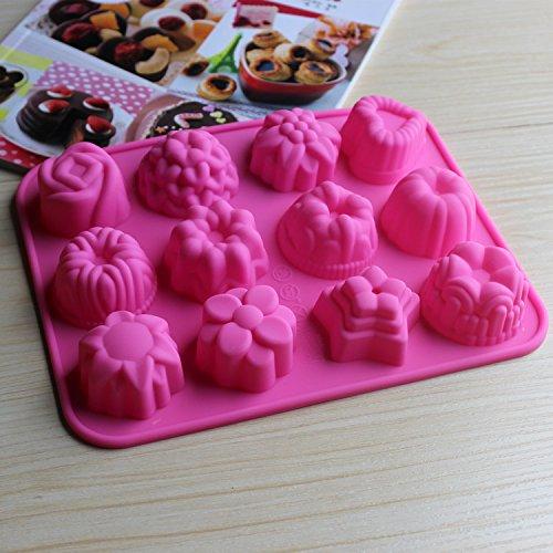 Hanseatic Consumables 12er Mini Muffin Backform  Teesemmel  Törtchenform  Pralinienform  Schokoladenform  Kekse  25x17x2cm  Antihaftbeschichtet  BPA freies Lebensmittelsilikon  Geschmackneutral