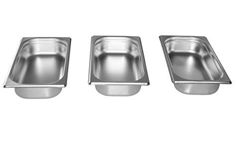 Gastro-Bedarf-Gutheil 3 x Gastronormbehälter GN Behälter 13 65 mm tief stapelbar Edelstahl geeignet für Chafing Dish Bain Marie Saladette