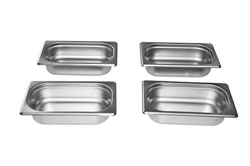Gastro-Bedarf-Gutheil 4 x Gastronormbehälter GN Behälter 14 65 mm Tief stapelbar Edelstahl Incl Steg Geeignet für Chafing Dish Bain Marie Saladette
