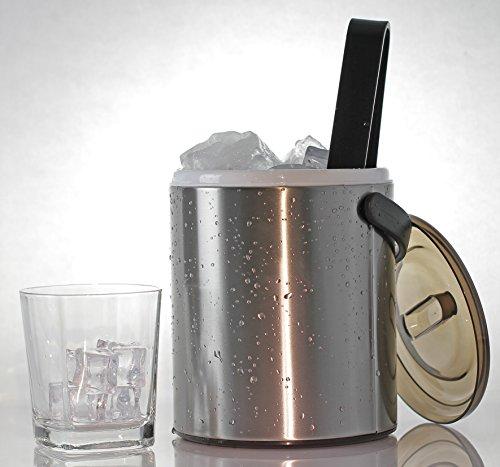 My-Gastro Edelstahl Eiseimer 16 Liter doppelwandig mit Perforiertem Einsatz und Kunststoffzange klein mit Deckel und Zange Eiswürfel EIS Behälter Thermo