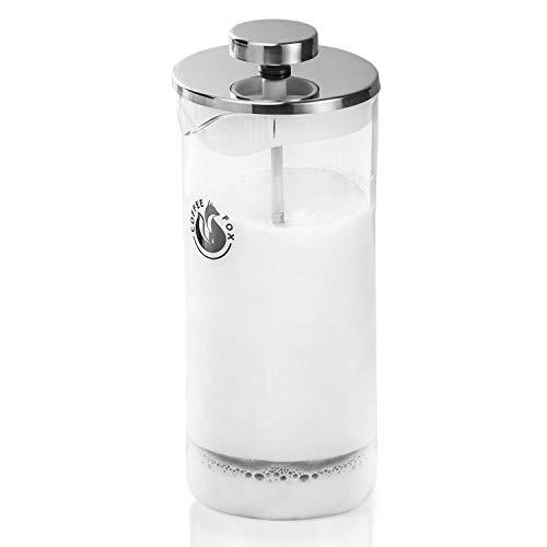 Coffee Fox Milchaufschäumer aus Glas - Manueller Milchschäumer French Press Milchschaum 450 ml