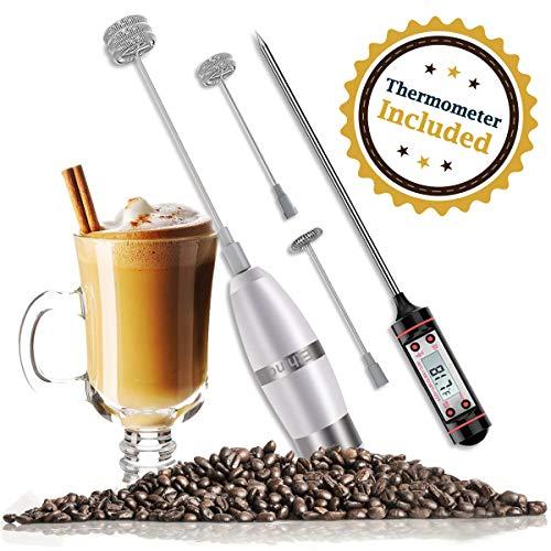 Elektrischer Milchaufschäumer mit Drei Quirl und Koch-Thermometer für KaffeeLatte  CappuccinoChocolate Batteriebetrieb Extra Starker Motor mit 19000 Umin
