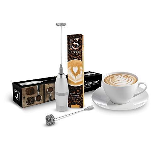Milchaufschäumer elektrisch batteriebetriebener Milchschäumer für Kaffee-milchschaum - Hand-mixer Aufschäumer mit 2 Quirl in silber