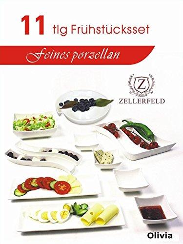 11tlg Frühstücksset Servier-Set Servierschalen Dipschalen Porzellan in weiß