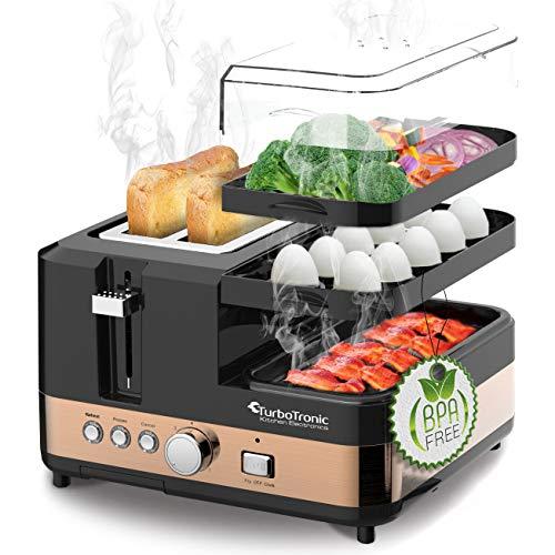 2 Scheiben Toaster - Breakfast-Line 3in1 - mit Eierkocher Mini-Pfanne Steamer Dampfgarer Frühstücksset