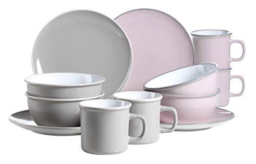 Mäser 931236 Serie Maila Frühstücksset 12-teilig Keramik Geschirr-Set für 4 Personen Rosa  Grau