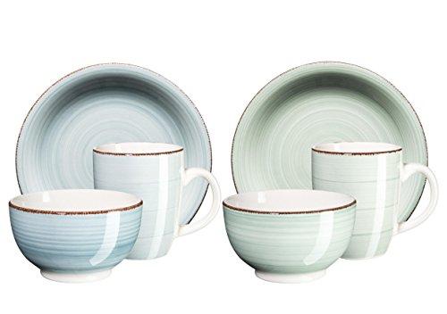 Mäser Serie Bel Tempo handbemaltes Keramik Frühstücksset 12-teilig für 4 Personen in den Farben Hellgrün und Hellblau