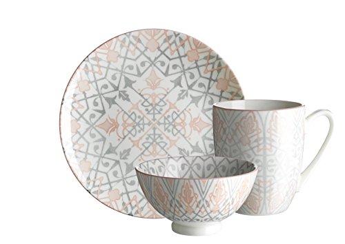 Mäser Serie Nantes Frühstücksset 18-teilig Porzellan Geschirr-Set für 6 Personen dekoriert in den Farben Grau und Rosa